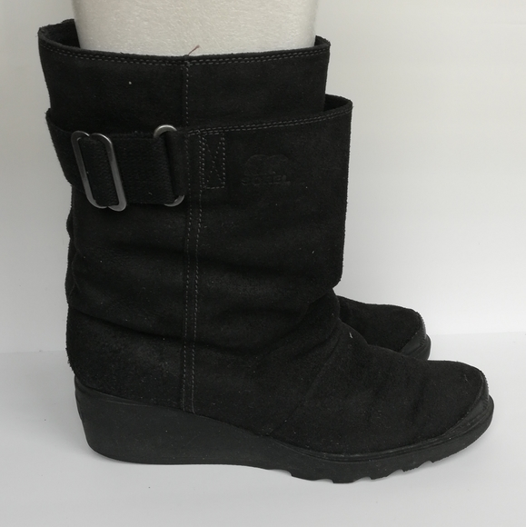 SOREL Toronto Mid Leather Suede Wedge Boots